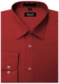 SKU#RD0956 Amanti Men's Wrinkle-free Apple Red Dress Shirt $25