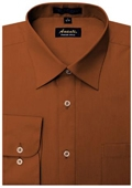 SKU#RU4177 Amanti Men's Wrinkle-free Rust Dress Shirt $25