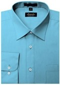 SKU#TR3339 Amanti Men's Wrinkle-free Turquoise Dress Shirt $25