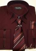 Burgundy Shirt Tie and Hankie Set $65