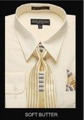 SKU#SF9011Men's Classic Dress Shirt Soft Butter $39