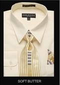 SKU#SF9011Men's Classic Dress Shirt Soft Butter $39