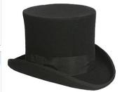 Black or Gray 100% Wool top hat