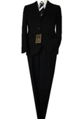 SKU#GU5896 Fitted Tailored Slim Cut 2 Button Euro Slim Solid Black Men's Suit $139