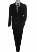 SKU#GU2012 Fitted Tailored Slim Cut 2 Button SLIM FIT & SLIM Notch Lapel Solid Black Men's Suit $139