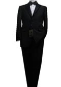 SKU#KD9898 Fitted Tailored Slim Cut 2 Button Solid Black Men's Tuxedo $175