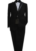 SKU#VB8564 Fitted Tailored Slim Cut 2 Button Solid Black Modern Lapel Men's Tuxedo $275