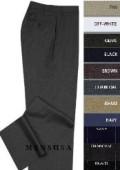 SKU# WVP481 FLAT FRONT No Pleat MENS WOOL DRESS PANTS HAND MADE RELAX FIT