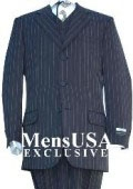 SKU# FHQ263 highest Quality Jet Liquid Navy Blue & Chalk White Pinstripe Vested Men's Dress Suit Super 120s Wool