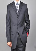SKU#KA1491 Men's Solid Black 3-button Suit $165