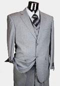 Men's Light Grey 3 Piece 2 Button single pleated pants three piece suit $175