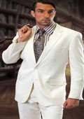 CLASSIC SLIM FIT 2 PIECE 2 BUTTON OFFWHITE MENS SUIT BY TZARELLI . SUPER 150'S EXTRA FINE ITALIAN FABRIC $210