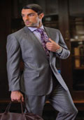 CLASSIC SLIM FIT 2 PIECE 2 BUTTON GRAY MENS SUIT Pick Stitched 100% Super 150's Wool ITALIAN FABRIC $159