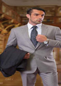 SKU#Statement_STZ1000 CLASSIC SLIM FIT 2 PIECE 2 BUTTON GRAY MENS SUIT Pick Stitched 100% Super 150's Wool $190
