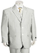 SKU#KA1227 Men's Fashion 3 Piece Seersucker Suit in Soft Poly Rayon