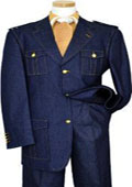 SKU#KA1328 Blue Denim Iridescent Suit With Cognac Hand-Pick Stitching And Shoulder Epaulettes 100% $179