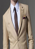SKU#KA1333 Mens Taupe Linen Suit 100% Linen 2-Button $175