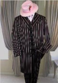 SKU MU282Three Piece Long Jacket Gangster Black  Any Color Pinstripe Zoot Suit