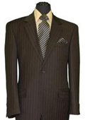 SKU#MU060 Men's Two Button Style Brown Pinstripe Super 140's Wool Feel Poly~RayonSuit (Jacket&Pants)