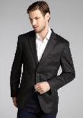 SKU#GT666 Mens Slim Fit Wool & Cashmere Blend 2 Button Blazer Rich Charcoal $175