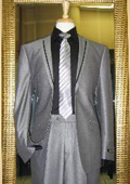 2 Button Silver Tuxedo Formal Looking Slim Fit Suit with Taping on the Lapels