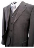 Black Pinstripe Super 120's Wool Feel Extra Fine Poly~Rayon Vested three piece suit $185