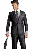 2 Button Shiny Flashy Metalic Silk Touch Sharkskin Black Suit