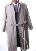 Mens Taupe Full Length Trench Coat