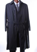 Mens Black Full Length Trench Coat