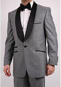Single-Button Shawl-Collar Grey Tuxedo