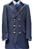 SKU#UY6665 3 PC 6 on 3 Brass Button Denim three piece suit Navy
