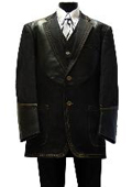 SKU#SL1213 New 3PC 2 Button Denim three piece suit Black