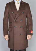 Chestnut Wool-Cashmere Double-Breasted Topcoat