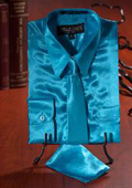 Turquoise Satin Dress Shirt