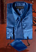 Boys Royal Blue Satin Dress Shirt Combo $35
