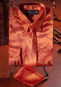 SKU#QWK1926 Boys Orange Satin Dress Shirt Combo $35