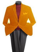 SKU#HQ3197 Men's 2 Button Classic Cotton/Rayon Blazer Orange $139