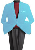 SKU#HJ6290 Men's 2 Button Classic Cotton/Rayon Blazer Light Blue ~ Sky Blue $139