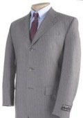 Mens Light Gray Pinstripe 3 Buttons Dress Suit