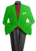 SKU#PS2966 Men's 2 Button Classic Cotton/Rayon Blazer Lime Mint Green $139