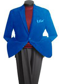 SKU#JR9400 Men's 2 Button Classic Cotton/Rayon Blazer Royal Blue $139