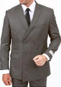 Center Vent 4 button style Double Breasted Peak Lapel Slim Cut Fit Flat Front Pants Light Grey Suit