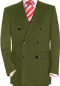 SKU#OGN286 High Quality Olive Green Double Breasted Blazer With Peak Lapels $139