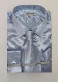 Mens Shiny Luxurious Shirt Light Blue ~ Sky Blue $59