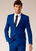 Mens 2 Button Style Jacket Suit & Plus Pants Royal Blue ( Light Blue ) Notch Collar $139