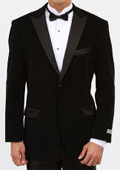 Velvet Shawl Suit Black