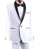 SKU#WHT666 Mens 1 Button White 3 Pcs Vested Tuxedo Slim Fit