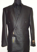 Mens Elegant Shiny Black Double Breasted Designer Sharkskin Suit