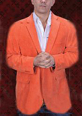 SKU#OGE2344 Mens Orange Cotton/Rayon 2 Button Sport Coat Notch Lapel Side Vents $125