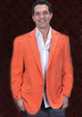 SKU#ONG9911 Mens Cotton/Rayon 2 Button Orange Sport Coat Notch Lapel Side Vents $125